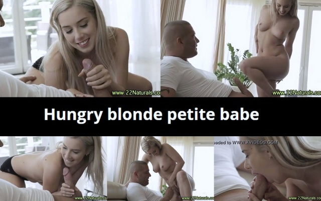 Hungry blonde petite babe